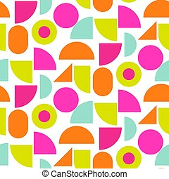 Color block bright shapes seamless vector pattern.
