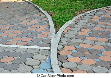 Color block walk-way in garden.