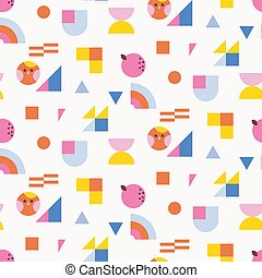 Color blocks kids seamless pattern with bright shapes.