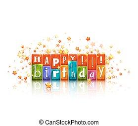 Color blocks with letters. Happy birthday congratulation. Vector illustration