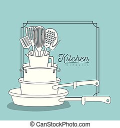 color blue background with decorative frame vintage and set silhouette stack of pots and pans kitchen utensils over