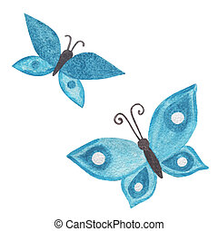Color blue watercolor butterfly isolated on white background.