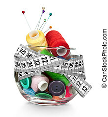 color bobbin thread in row with tape measuring