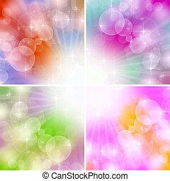 color, boke, plano de fondo, 4, luces