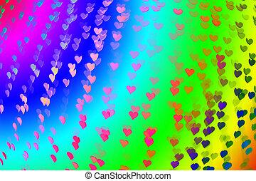 Color Bokeh heart shape valentine background