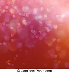 Color Bokeh on a red background with hearts. EPS 10 vector file included
