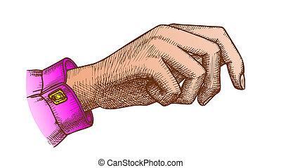 color, bolsa mano, tenencia, handdrawn, niña, gesto