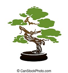 Color Bonsai Tree. Vector Illustration.