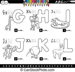 color book educational cartoon alphabet for kids - Black and...