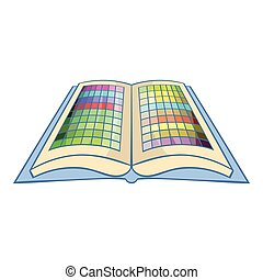 Color booklet icon, cartoon style