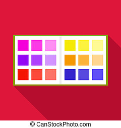 Color booklet icon, flat style