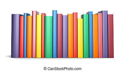 Color books in line isolated on a white background