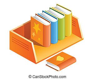 color books on shelf illustration