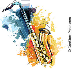 color, bosquejo, saxófono