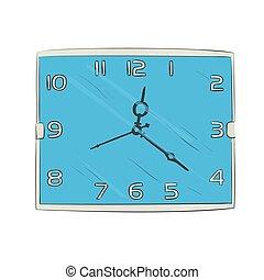color, bosquejo, vector, reloj
