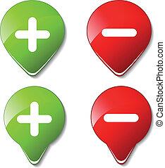 color, -, botones, vector, más, menos