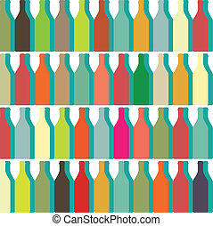 color bottles - Bottle silhouette, pattern with wine bottles...