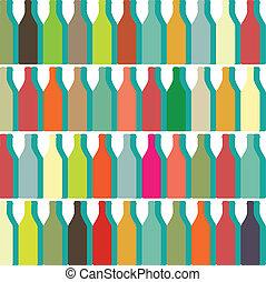 color bottles - Bottle silhouette, pattern with wine bottles...