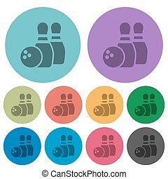 Color bowling flat icons