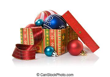 box with christmas stuff