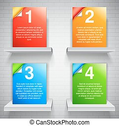 Color Boxes - Four color boxes with space for text on white...