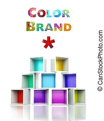Color brand with colorful 3d design illustration