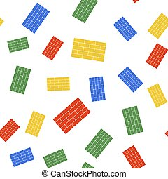 Color Bricks icon isolated seamless pattern on white background. Vector