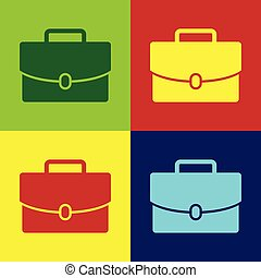 Color Briefcase icon isolated on color backgrounds. Business case sign. Business portfolio. Flat design. Vector Illustration
