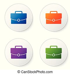 Color Briefcase icon isolated on white background. Business case sign. Business portfolio. Set color icon in circle buttons. Vector Illustration