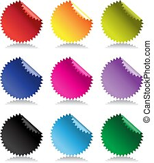Color bright glossy stickers with reflection