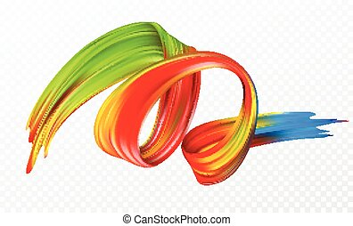 Color brushstroke oil or acrylic paint design element for presentations, flyers, leaflets, postcards and posters. Vector illustration