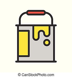 color bucket, Filled outline icon, handyman tool and equipment set