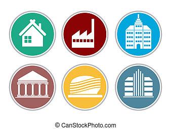 Color building icon set