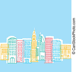 Color buildings in playful city