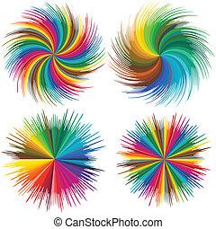 Color burst - Set of vector stars in full color range,...