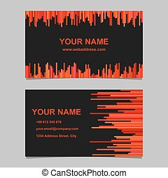 Color business card template design set - vector corporate card illustration with vertical stripes