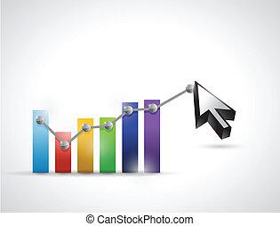color business graph cursor illustration design over a white...