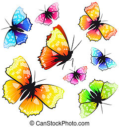 color butterflies, isolated on a white