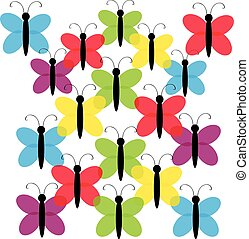 Color butterflies on white background