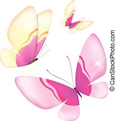 color butterflies,isolated on a white background