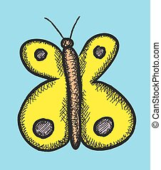 color butterfly doodle, vector