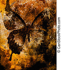 color butterfly, illustration and mixed medium, abstract background, vintage rust effect
