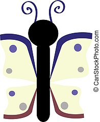 Color butterfly on white background. Vector Illustration.