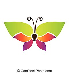 color butterfly with tricolor wings icon, vector ...