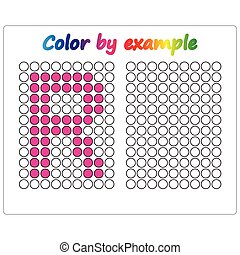 Color by example. Learning alphabet, letters. worksheet for preschool children, kids. ABC Coloring Book for children. Puzzle for children.