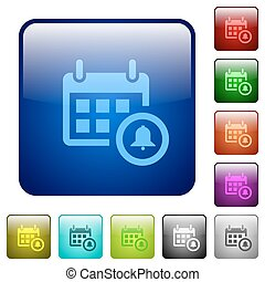 Color calendar alarm square buttons