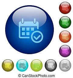 Color calendar check glass buttons