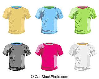 color, camiseta, vector, plantilla