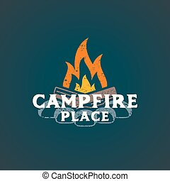 color campfire place sign template - vector colored vintage...
