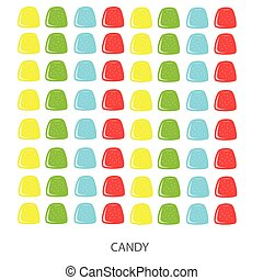 Color candies on a white background